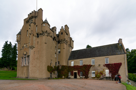 GRAMPIANS, SCOTLAND - AUG. 19, 2017 - historic Crathes Castle in the Grampians region of Northern Scotland near Aberdeen