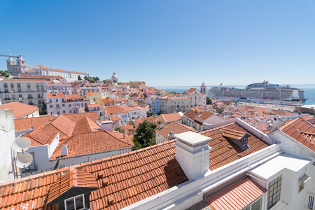 LISBON - JUNE 7, 2017: Buildings and streets of Lisbon, Portugal and the Tagus Bay