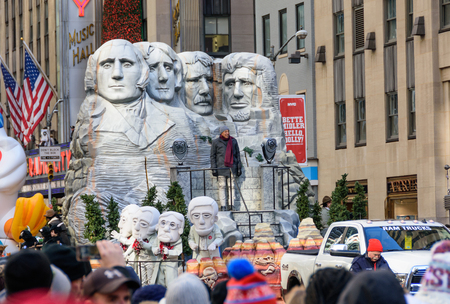 NEW YORK CITY - NOV. 23. 2017: Spectators watching the Macy's Thanksgiving Day Parade in New York City on Sixth Avenue
