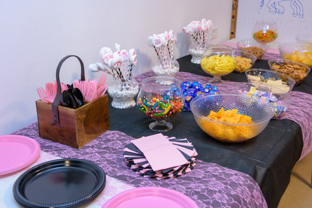 Festive table with snaks for a Sweet Sixteen party