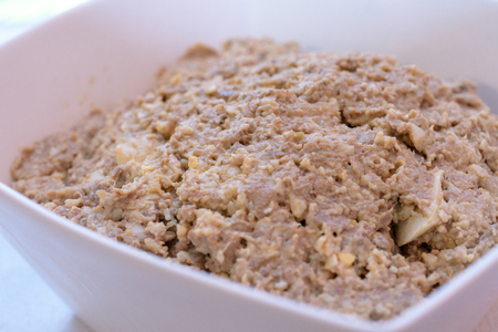 Chopped Liver dish - a traditional Passover  dish  on a Seder table in Tel Aviv, Israel Stock Photo