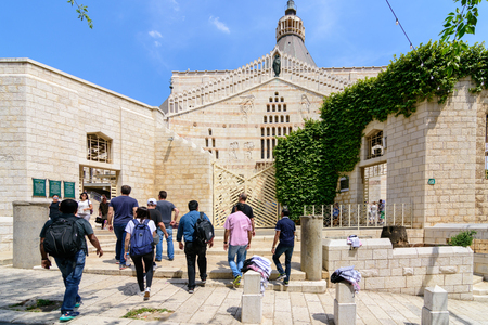 NAZARETH, ISRAEL - APRIL 30, 2016: Church Basilica of the Annunciation. Traditionally here angel Gabriel appeared to Virgin Mary and announced she would conceive  Jesus Christ