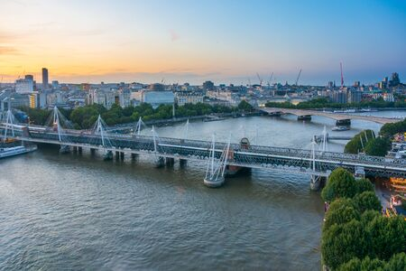 Views of the River Thames and central London at sunset from the London Eye