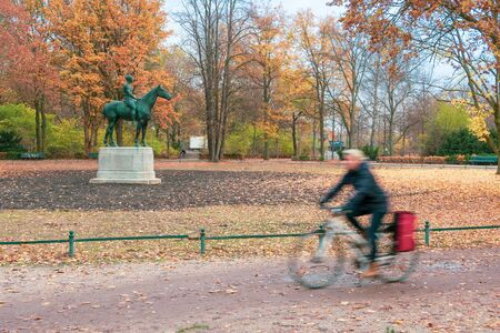 Beutiful Tiergarten Park in Belin, Germany during the fall, with colorful autumn foliage and trees
