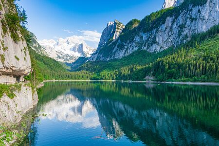Beautiful spring day on Lake Gosau (Gosausee) in the Austrian Lake District