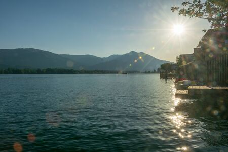 Lake Wolfgang in sunset with a sun star, Austria
