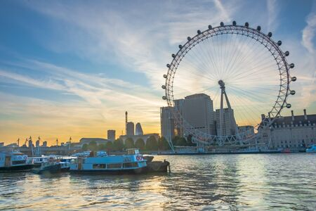 Beautiful sunrise on the Thames and London Eye - HDR Image