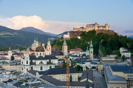 View of Salzburg, city of Mozart, iconic and historic center and old town from the Kapuzinerberg Hill Reklamní fotografie