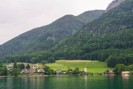 The town of St. Wolfgang and Lake Wolfgang, Austria in early morning