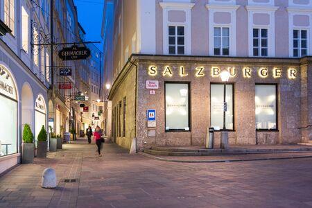 SALZBURG, AUSTRIA - JUNE 4, 2019: People enjoying a quiet, warm spring evening in Salzburg