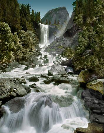 vernal: Vernal Falls - Half Dome Stock Photo