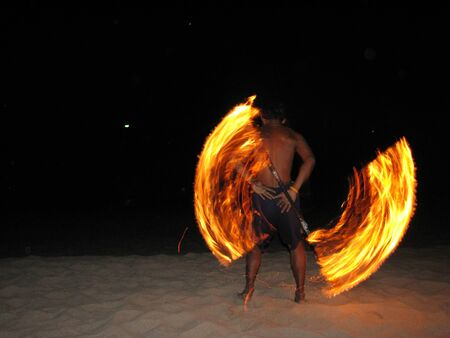 Fire show on Koh Lanta, Thailand photo