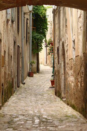 Narrow sea town street