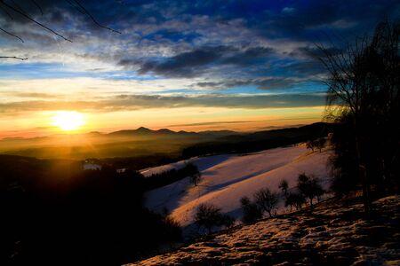 Fairy tale colourful sunrise Stock Photo