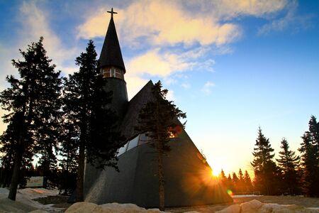 Modern church and sunrise