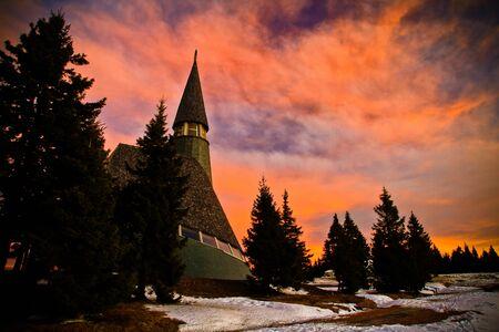Dramatic sky over church