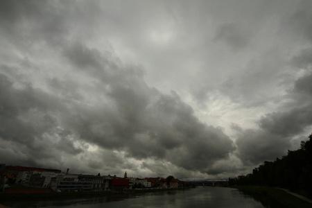 Sky over river photo