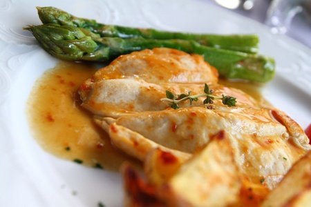 Chicken on Thyme with asparagus Stock Photo - 13484910