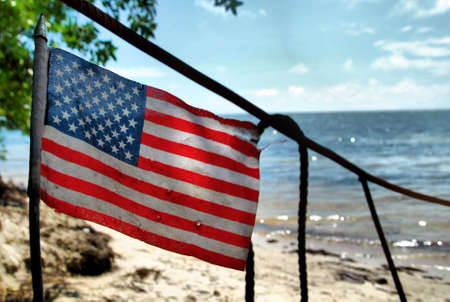 Amerikaanse vlag op Immigrant Boot