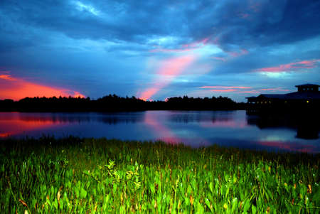 cay: Sunrise at the Green Cay Wetlands in south Florida Stock Photo