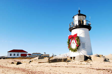 Christmas at the Brant Point Lighthouse at Nantucket, Massachusetts