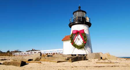 shortest: Christmas at the Brant Point Lighthouse at Nantucket, Massachusetts