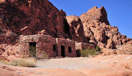 The Cabins at the Valley of Fire in Nevada Stok Fotoğraf