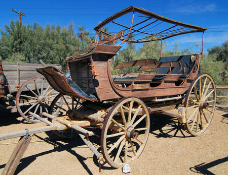 borax: Old wagon located in Death Valley National Park in California