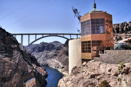 hoover dam: Views from the Hoover Dam in Nevada Stock Photo