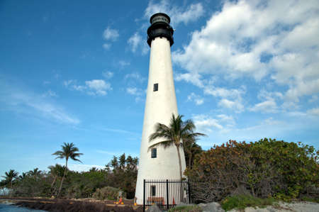 Cape Florida Lighthouse at Bill Baggs State Park in Key Biscayne Florida Stok Fotoğraf