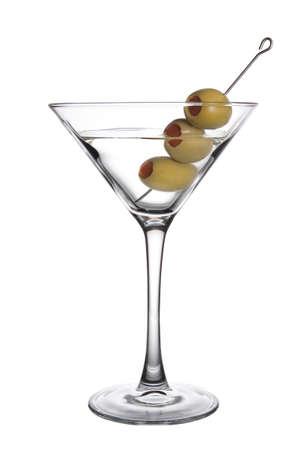 copa de martini: Tres Olive Martini Foto de archivo