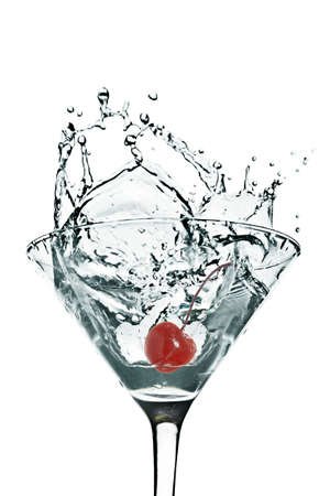 martini splash: cherry Martini Splash on White background Stock Photo