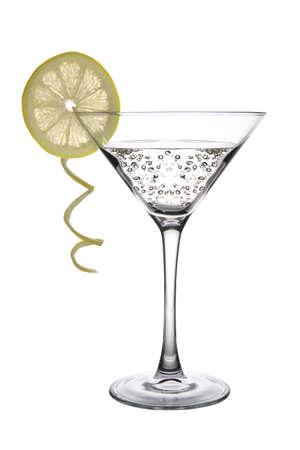 A Lemon Martini Cocktail on white background