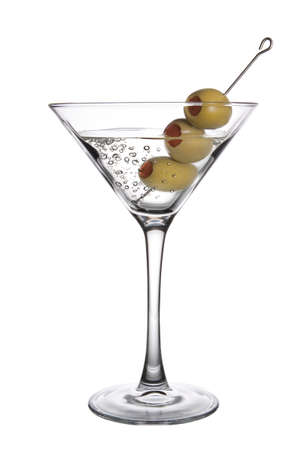 gin: An Olive Martini Cocktail with bubbles on white background Stock Photo