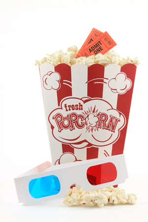 Movie Popcorn with 3D Gasses Stock Photo - 9481378
