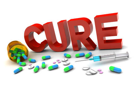 Cure word and medication illustration on white background Фото со стока