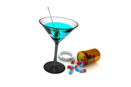 alcoholic drink: Alcohol and Medicine illustration on white background