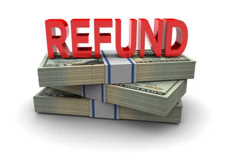 refund: Cash refund money illustration on white background