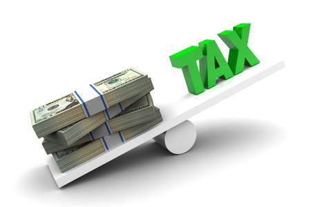 more money: More money less tax illustration on white background Stock Photo