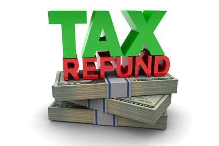 白い背景上に分離されて税払い戻しの図 写真素材
