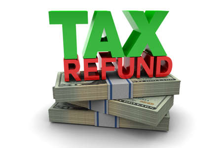 Belastingteruggave illustratie geïsoleerd op een witte achtergrond Stockfoto