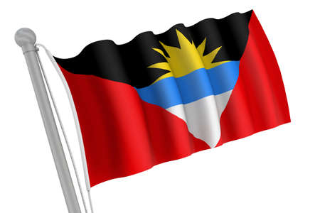 antigua flag: Antigua flag on pole waving in the wind Stock Photo
