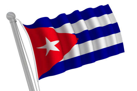 Cuba Flag On Pole waving in the wind photo
