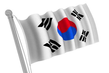 Korea South flag on pole waving in the wind photo