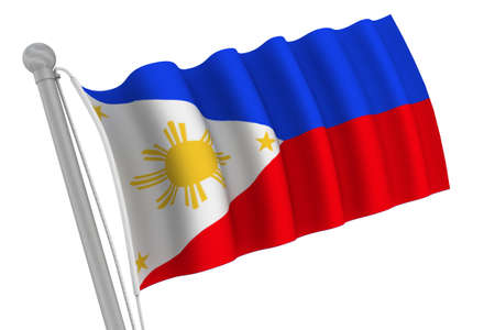Philippines flag on pole waving in the wind photo