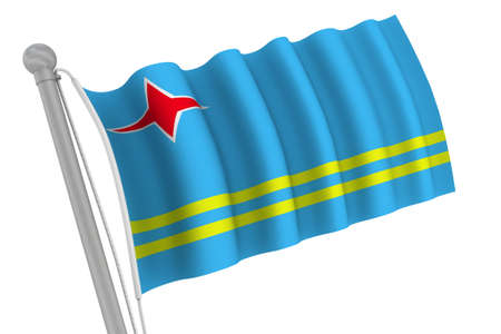 waiving: Aruba Flag On Pole waiving in the wind