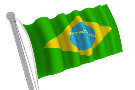 Brazil Flag On Pole waving in the wind photo