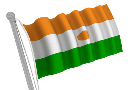 Niger flag on pole waving in the wind photo