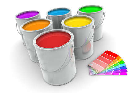 paint swatch: Six tin of paint and color swatch on white background Stock Photo