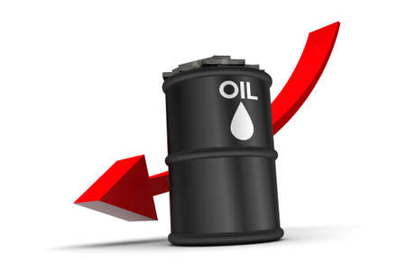 Oil price down trend  illustration isolated on white background illustration